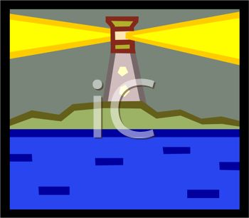 clip art illustration of a beaming lighthouse