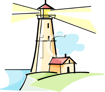 clip Art illustration of a lighthouse with the light beaming