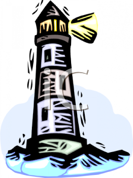 clip art illustration of a lighthouse on the ocean
