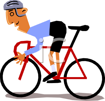 Clip Art illustration of a man riding a red bicycle