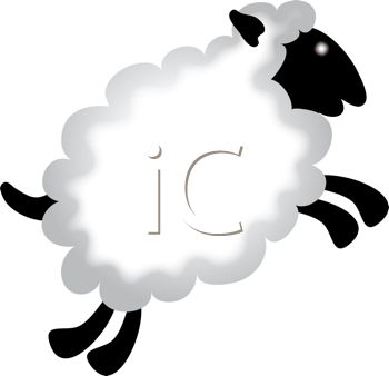 clip art illustration of a sheep leaping through the air