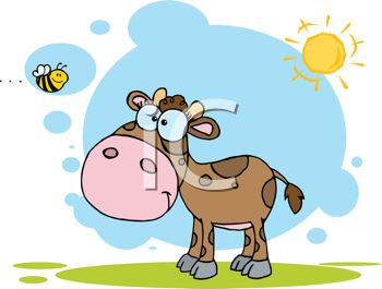 clip art illustration of a calf standing in the sunshine on a patch of grass