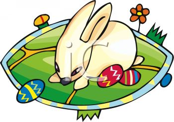 clip art illustration of an easter bunny in a grassy field with colored easter eggs