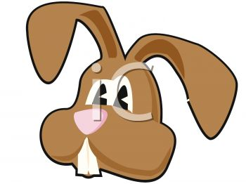 Clip Art Illustration of the Face of a Brown Easter Bunny ...