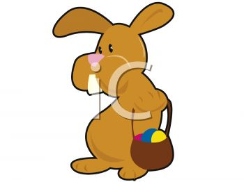clip art illustration of a brown easer bunny holding a basket of colored eggs