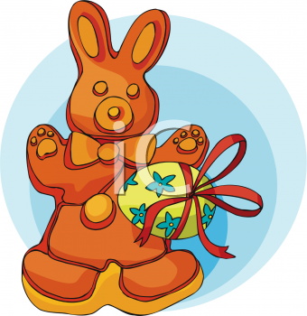 clip art illustration of a Easter bunny cookie and a colored easter egg wrapped in a bow