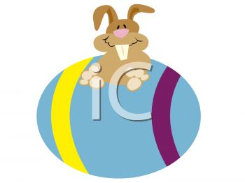clip art illustration of a cute happy bunny sitting on top of a colored easter egg