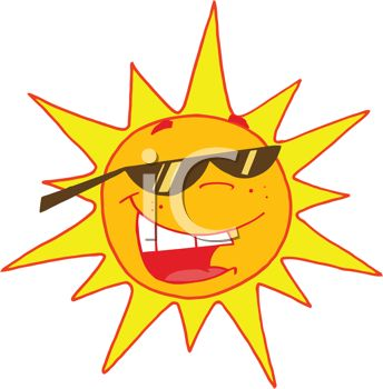 image of a bright sun wearing sunglasses and smiling in a vector clip art illustration