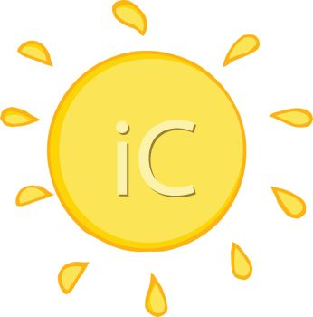 image of a very hot sun in a vector clip art illustration