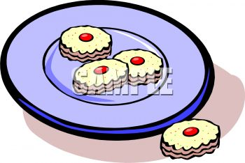 clip art image of cookies on a plate
