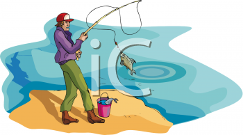 Image Of a man fishing in a lake in a vector clip art illustration