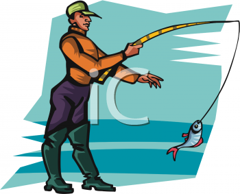 Image of a man with a fish on his line in a vector clip art illustration