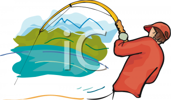 Image of a man with a fish on his line trying to pull it out of the water in a vector clip art illustration