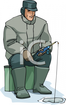 Image of a man sitting down ice fishing in a vector clip art illustration