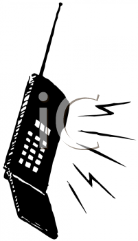 Image of a black cell phone in a vector clip art illustration