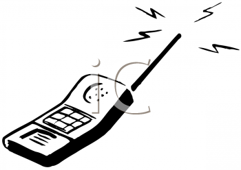 Image Of a cell phone in a vector clip art illustration