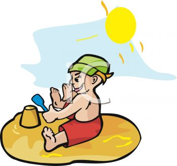 image of a toddler sitting in the sand playing on a warm sunny day in a vector clipart illustration