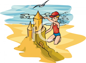 image of a boy making a giant sandcastle on the beach in a vector clip art illustration