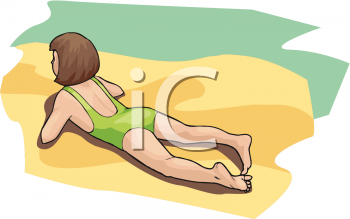 young girl laying on the beach on a sunny day in a vector clip art illustration