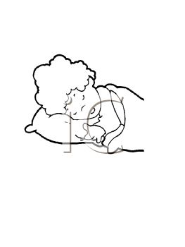 black and white image of a baby sleeping in a vector clip art illustration