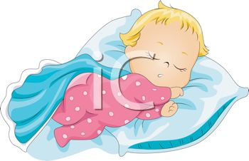 Image of a baby sleeping peacefully  in a vector clip art illustration