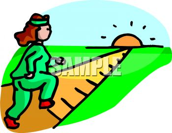 image of a woman jogging on a path in the bright sun in a vector clip art illustration