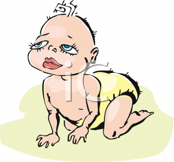 image of a baby girl crawling on the floor in a vector clip art illustration