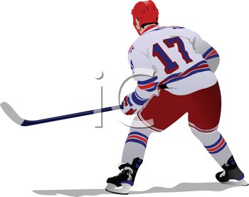 Image of a man playing ice hockey standing in a stance in defense in a vector clip art illustration