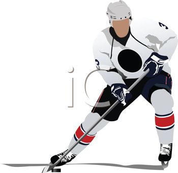 image of a man playing ice hockey. He has posession of the puck in a vector clip art illustration
