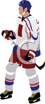 image of a hockey player standing and holding his hockey stick in a vector clip art illustration