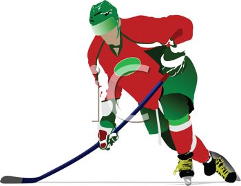 image of a hockey player skating with his hockey stick down in a vector clip art illustration