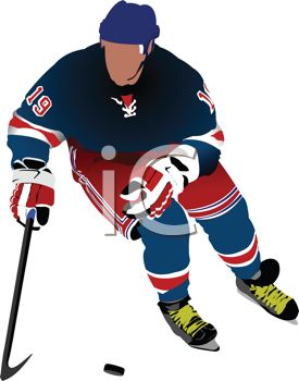 Image of a ice hockey player playing hockey in a vector clip art illustration