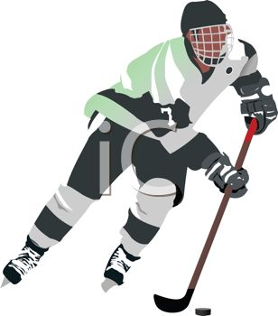 image of a ice hockey goalie playing ice hockey in a vector clip art illustration