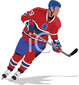 image of a man playing ice hockey in a vector clip art illustration