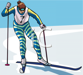 Image Of a woman snow skiing on a clear day in a vector clip art illustration