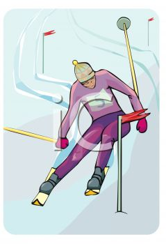 Image Of a person Snow skiing On a Downhill course in a vector clip art illustration