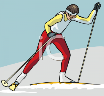 image of a woman snow skiing in a vector clip art illustration