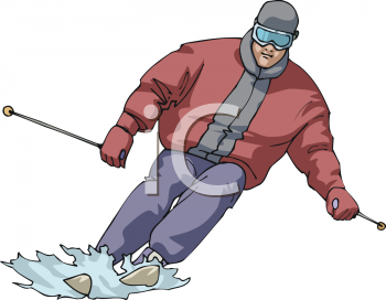image of a man snow skiing in a vector clip art illustration