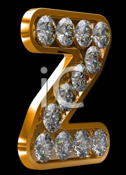 image of a piece of jewelry In the Shape Of A Z with diamonds imbedded In It in a vector clip art illustration
