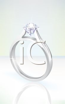Image of a beautiful diamond engagement ring in a vector clip art illustration