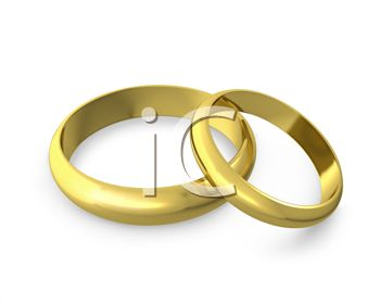 Image of Two Gold Wedding Bands On A White Background In A Clip Art ...