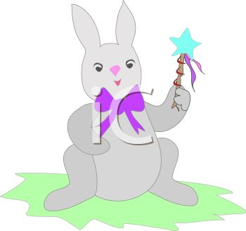 Image of an easter bunny sitting in a patch of grass holding a star wand in a vector clip art illustration