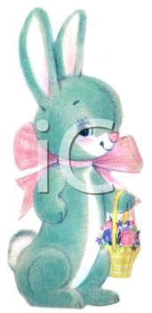 image of a blue easter bunny wearing a pink bow carrying a basket of colored eggs in a vector clip art illustration