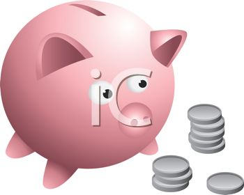 Cartoon drawing of a piggy bank with coins and loose change