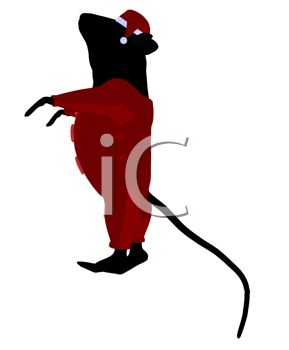 clip art image of a cute mouse standing and wearing santa pajamas and hat