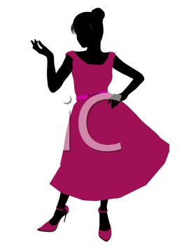silhouette image of a woman wearing a pink prom dress and pink shoes rh clipartguide com girl in prom dress clipart