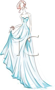 image of a woman wearing a blue prom dress in a vector clip art illustration