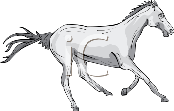 image of a horse running in a vector clip art illustration