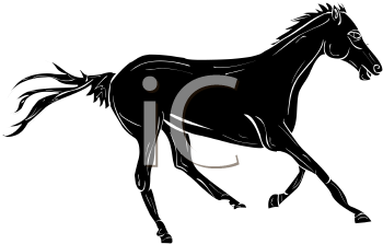 silhouette image of a horse running in a vector clip art illustration