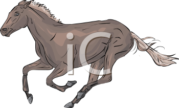 Image of a running horse in a vector clip art illustration